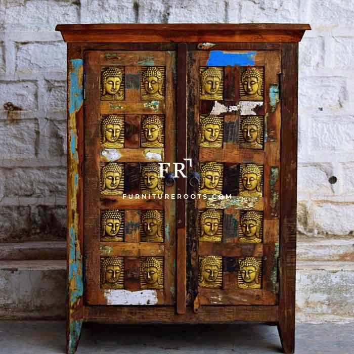 Buddha Carving Reclaimed Cabinet