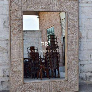 Handcrafted Carved Glass Mirror Frame