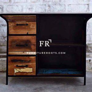 Treasure Old Wood Metal Cabinet