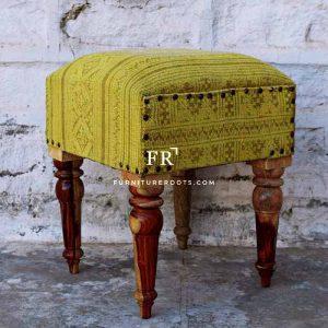 Yellow Fabric Ethnic Stool