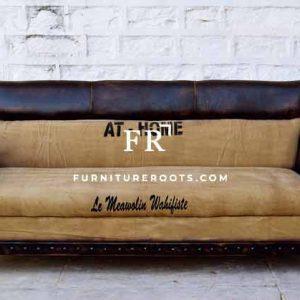 Dual Shade Leather Club Sofa
