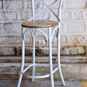 Bucolic Wooden Metal Combo Bar Chair
