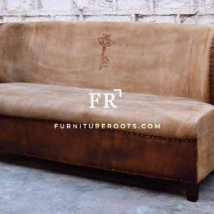 Canvas Leather Wingback Sofa