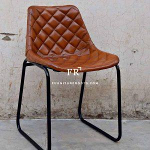Industrial Chair in Diamond-Tufted Leather Back