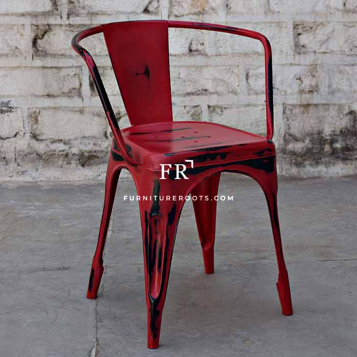 All-Weather Metal Restaurant Chair in Red Distress Finish
