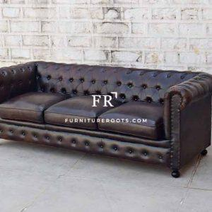 Leather Three Seater Chesterfield Sofa with Nailheads