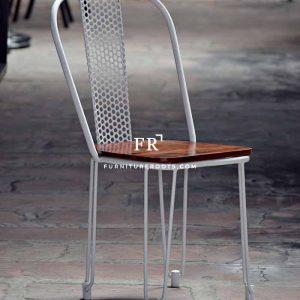Metal Perforated Back Slipper Chair in White