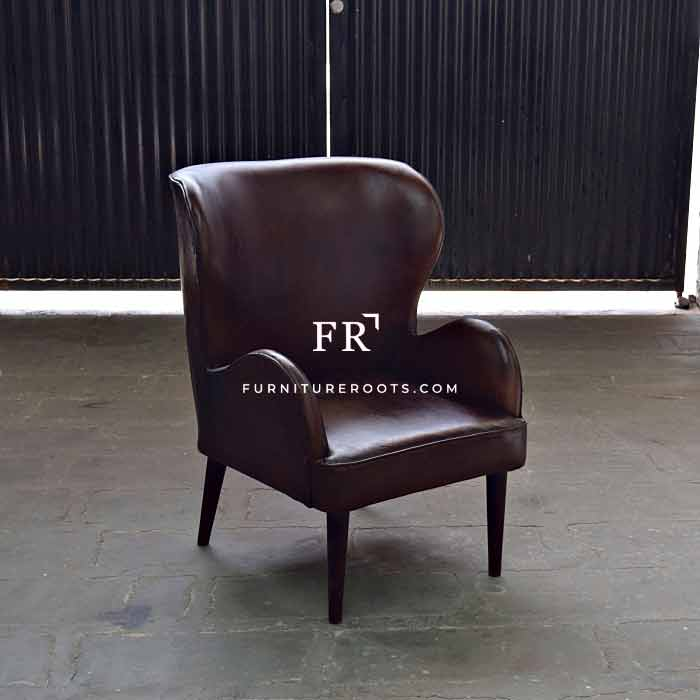 Retro Leather Wingback Armchair