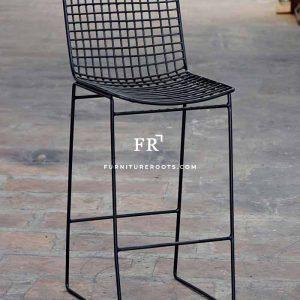 Metal Mesh-Back Pub Chair