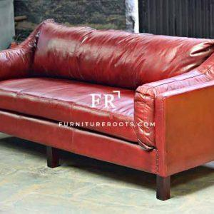 Expertly-Crafted Sloped-Arm Leather Sofa