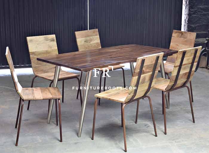 Contemporary Metal & Wood Mix Dining Set