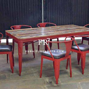 Cafe Table & Chair Dining Set (6 Seater) in Red Color
