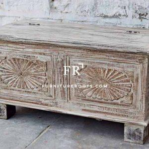 Rough Sawn Hand-Carved Wooden Storage Trunk