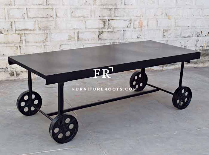 All-Weather Long Restaurant Table with Steampunk Wheels