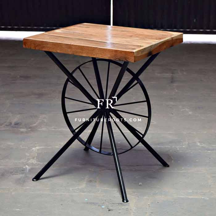 Enchanting Wheel-Design Wood Center Table