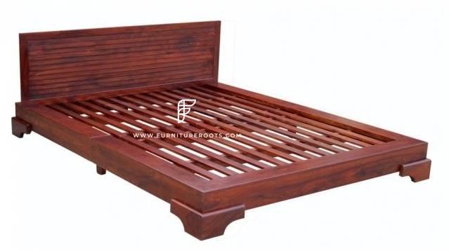 FR Beds Series Mid-Century Modern Wooden Platform Bed Frame in Light Mahogany Finish