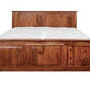 FR Beds Series Modern Solid Wood Platform Bed Frame in Light Cabernet Finish