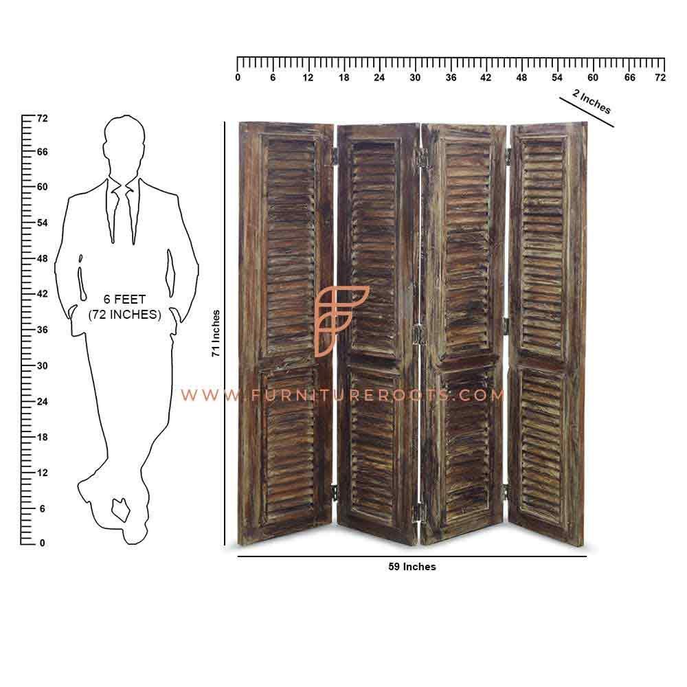 Écran de séparation de pièce à persiennes en bois récupéré par série de diviseurs de pièce FR