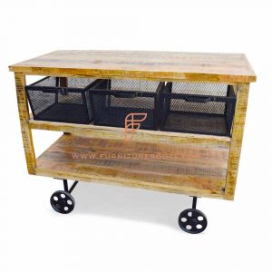 Shabby Chic Metal Mesh Cart Trolley