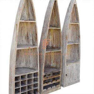 Boat-Design Multipurpose Cabinet in Distressed Finish