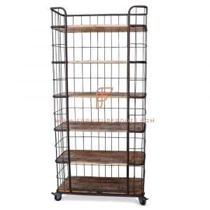 Industrial Metal & Wood Wireframe Display Rack 6-Tier