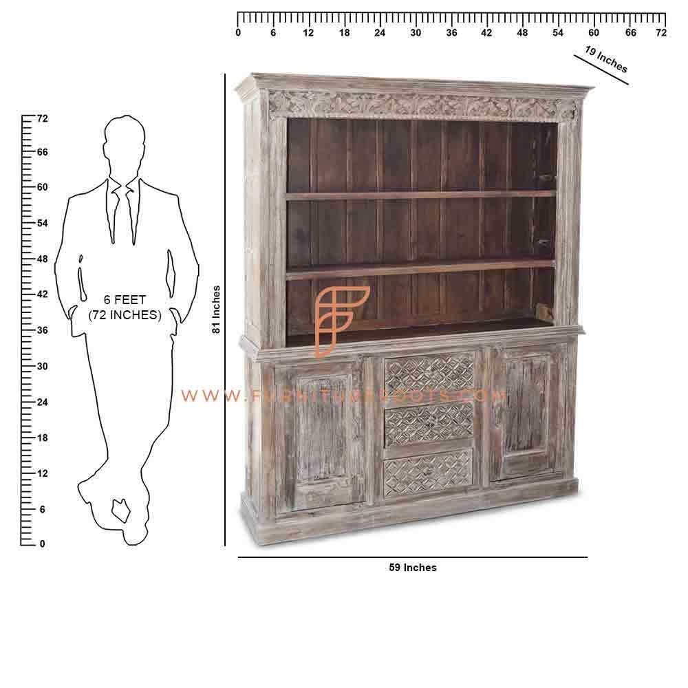 Estante grande da biblioteca de madeira entalhada da série FR Cabinets com acabamento desgastado