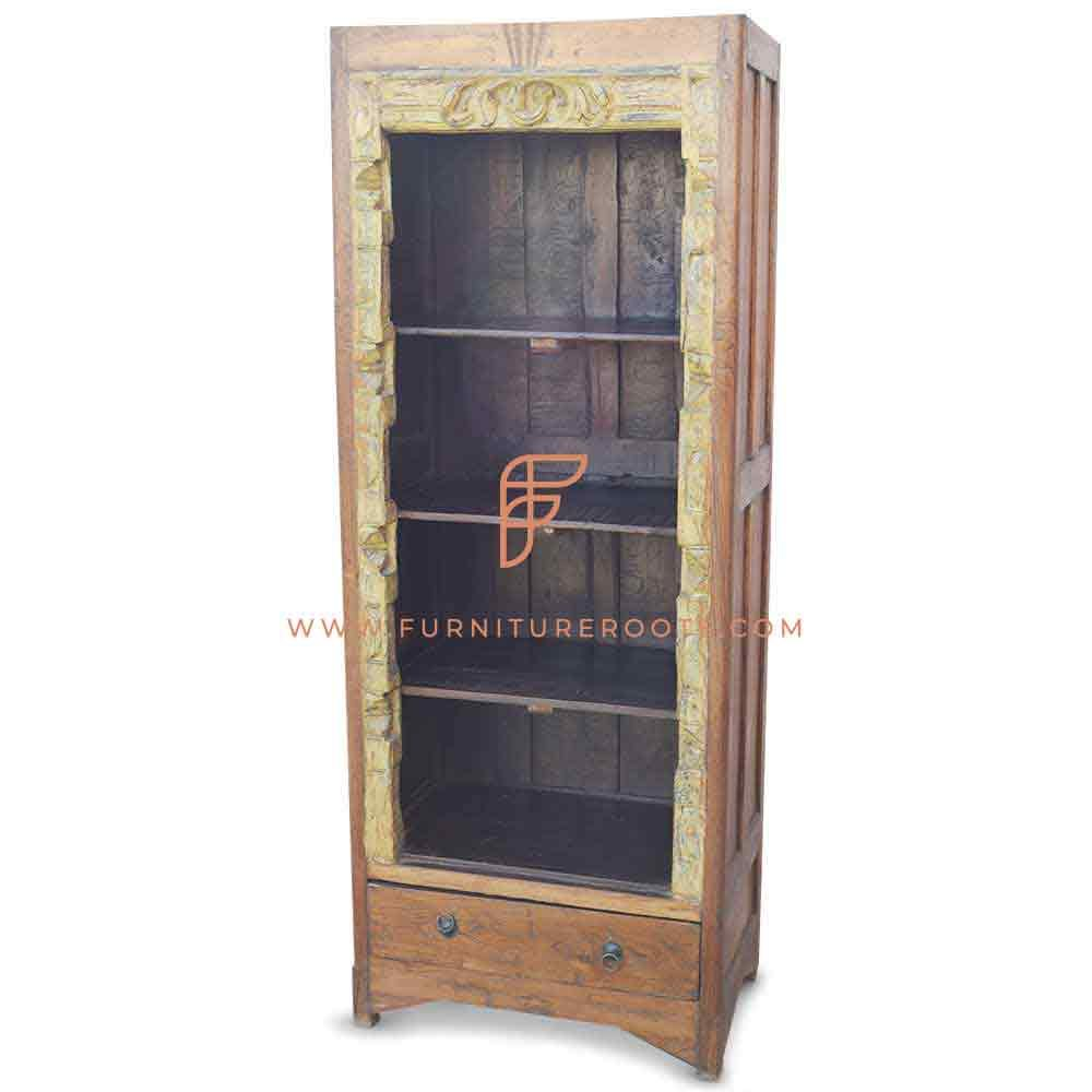 FR Cabinets Series Hand Carved Vintage Open Display Bookcase in Solid Teak Wood