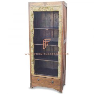 Hand Carved Vintage Open Display Bookcase in Solid Teak Wood