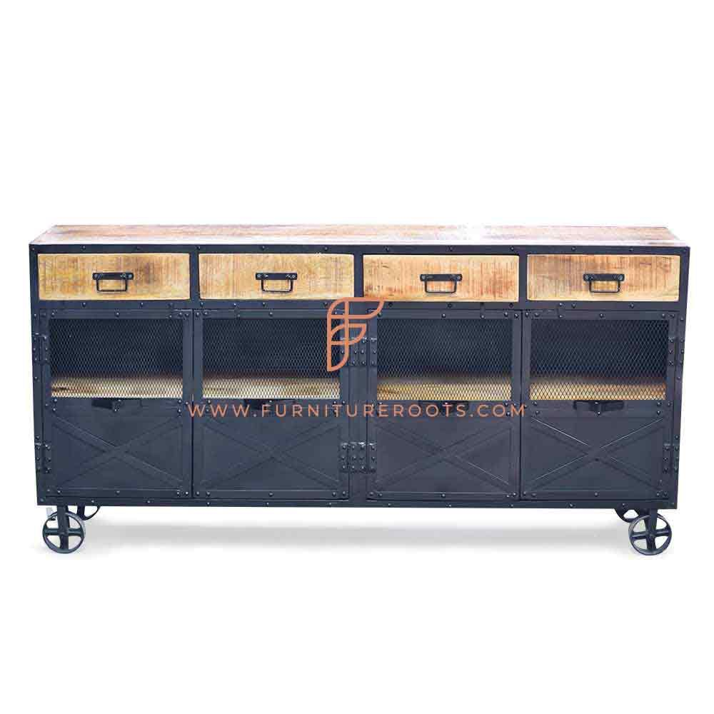 FR Cabinets Series Industrial Metal & Wood Sideboard in Rough Sawn Finish with Steampunk Wheels