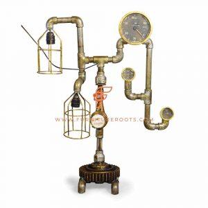 Lampe éclectique de tuyau et de jauge