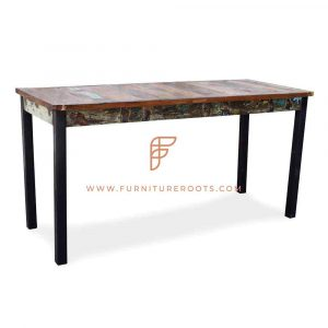 FR Console Table Series Carved Reclaimed Wood Console in Distress Painted Finish