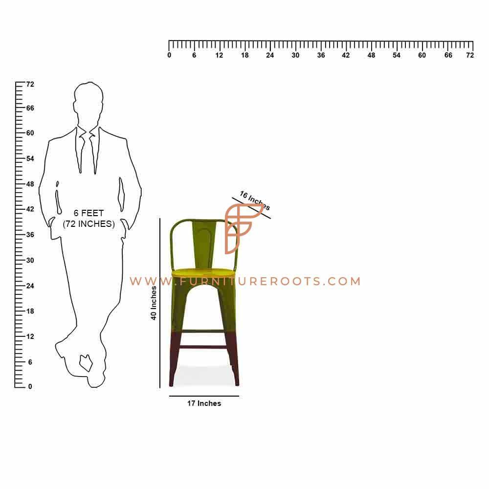 Elegant Metal Wooden Bar Chair
