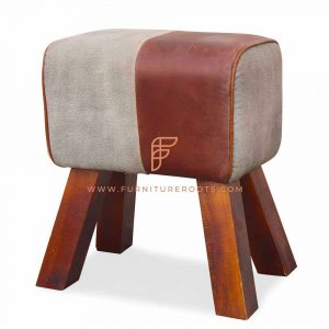 Bucolic Leather Pouf