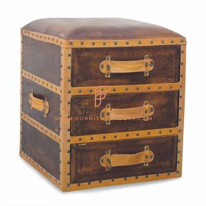 Genuine Leather Box Pouf