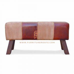 Zym Leather Canvas Long Pouf
