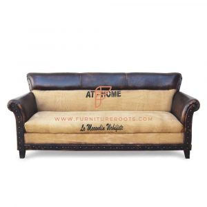 Dual Shade Canvas Leather Club Sofa