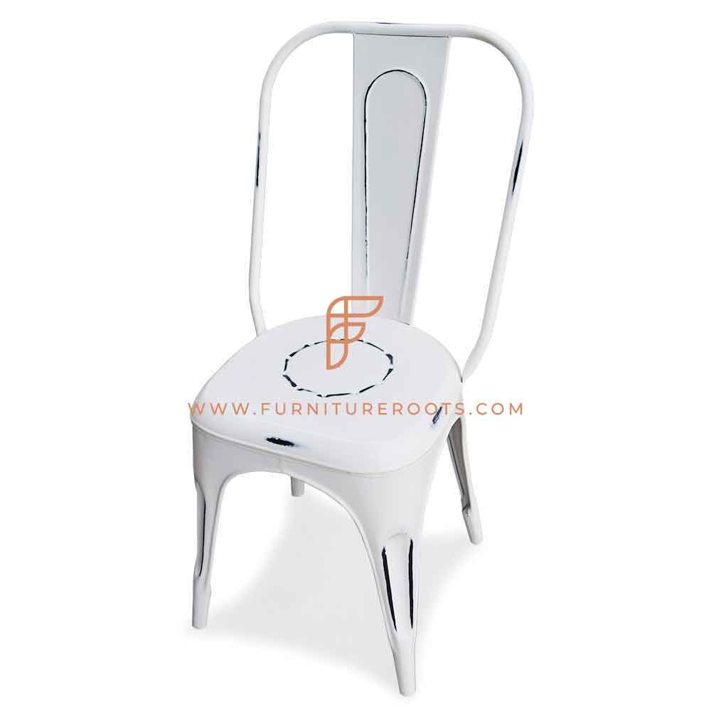 FR Chairs Series Metal Tolix Side Chair in White Distressed Finish
