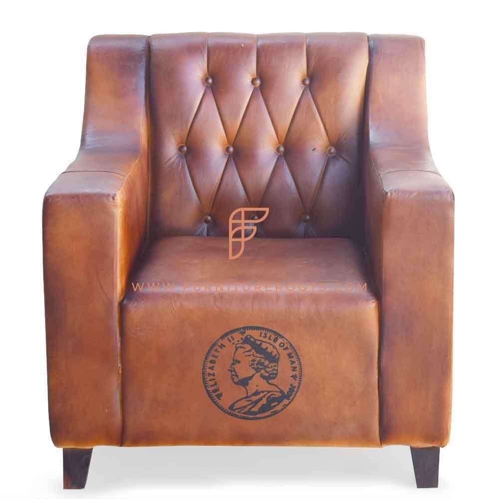 FR Accent Chairs Series Couro Tufted-Back Poltrona Club com motivo impresso personalizado