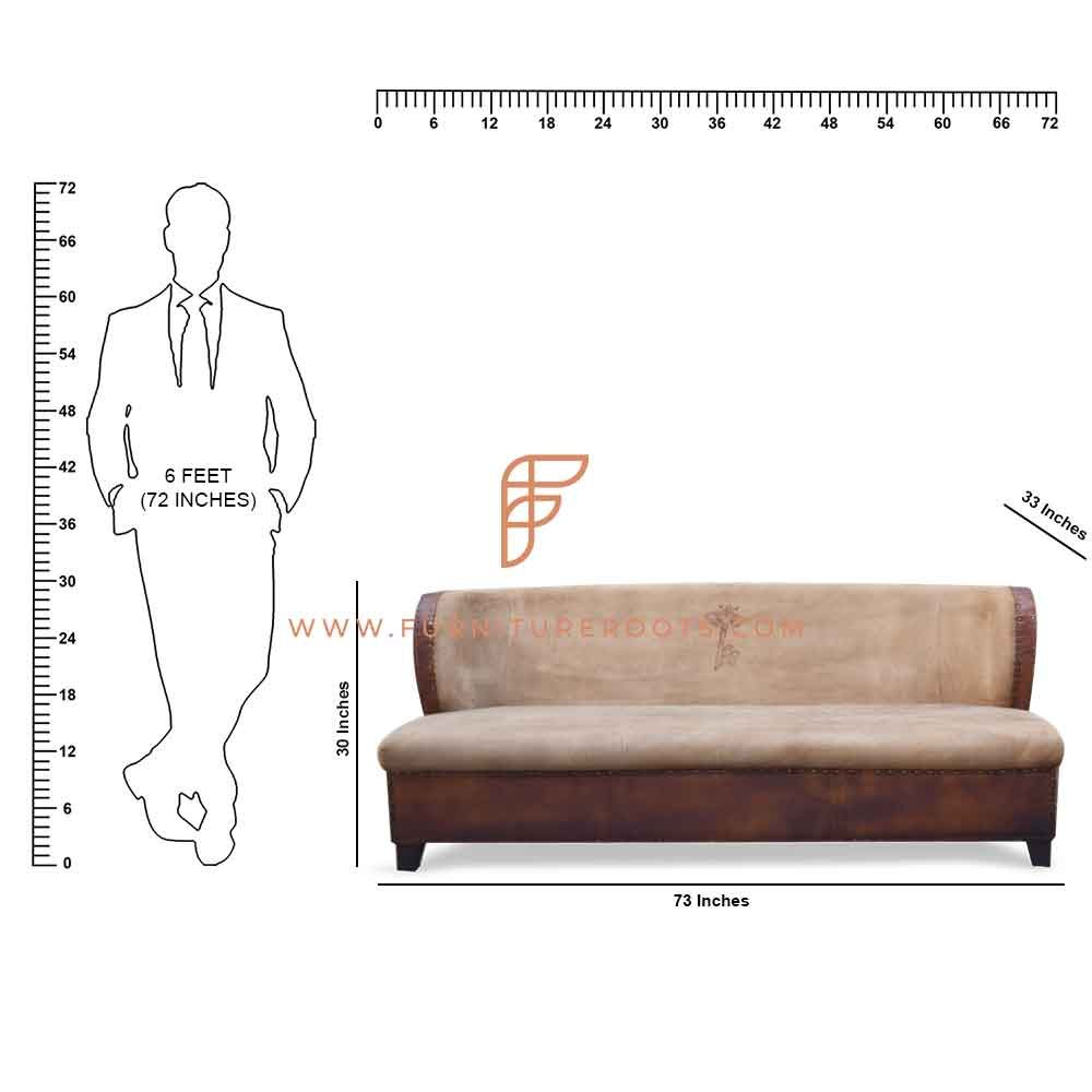 FR Sofas Series 3-Seater Wingback-Design Slipper Sofa in Canvas & Leather