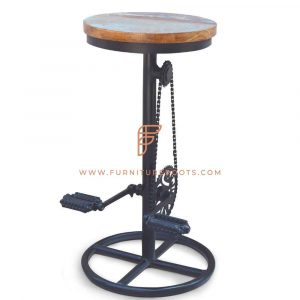 FR Barstools Series Black Cycle Pedal Bar Height Stool with Reclaimed Wood Seat