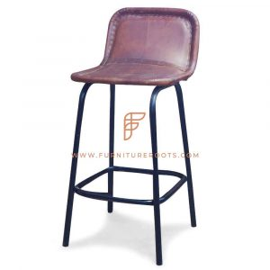 FR Barstools Series Low Back Bar Height Chair with Padded Leather Seat