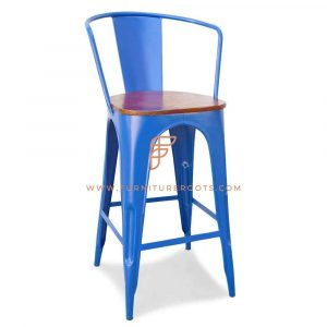 Royal Blue Iron Metal Pub Chair