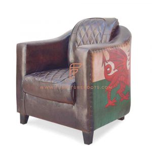 Diamond-Tufted Leather Club Chair with Custom Printed Dragon Motif