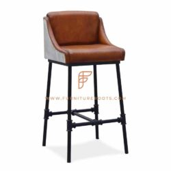 Industrial-Design Metal Bar Height Bucket Chair in Leather