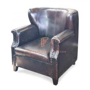 Boomerang Back Armchair in Leather with Roll Arms