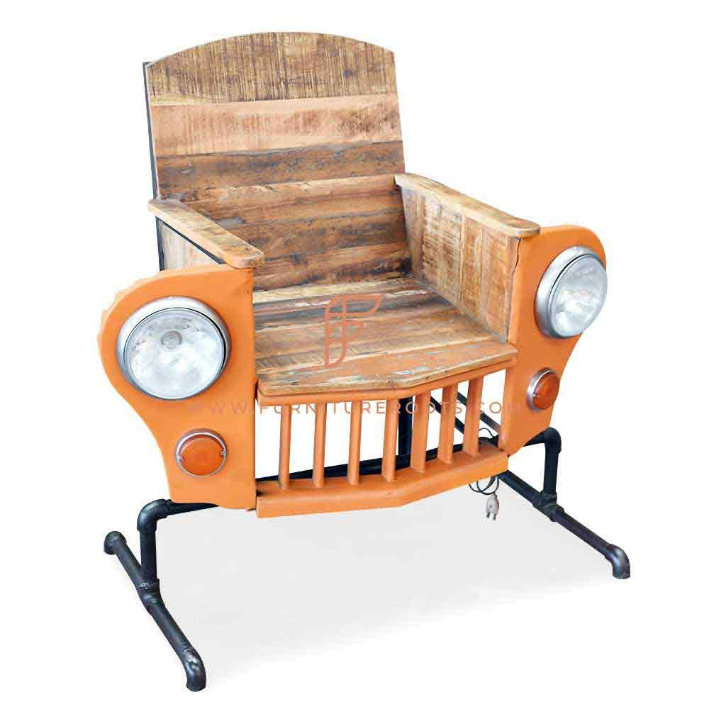 FR Automobile Chairs Series Jeep-Inspired Dining Height Chair in Wood & Metal