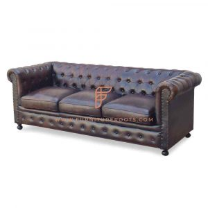 FR Sofas Series 3-Seater Tufted-Back Chesterfield Sofa in Aged Distressed Leather