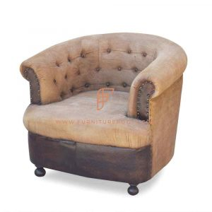 FR Accent Chairs Series Leather & Canvas Upholstered Tub Armchair with Tufted Backrest in Weathered Finish