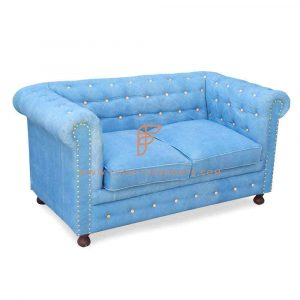 FR Sofas Series 2-Seater Chesterfield Loveseat in Sky Blue Fabric Upholstery and Nailhead Details