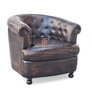 FR Accent Chairs Series Leather Tub Armchair with Tufted Backrest in Distressed Finish